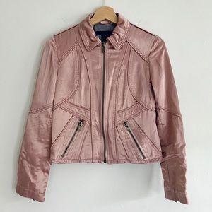 Marc Jacobs Pink Satin Zip Up Collar Jacket